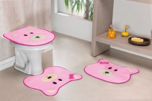 Kit Tapete de Banheiro 3 Peças Antiderrapante Ursa Rosa