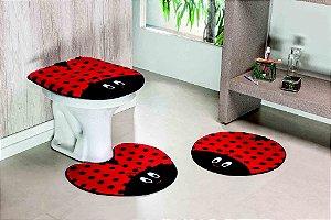 Kit Tapete de Banheiro 3 Peças Antiderrapante Joaninha Vermelha