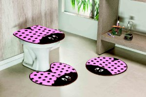 Kit Tapete de Banheiro 3 Peças Antiderrapante Joaninha Rosa