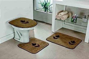Jogo de Banheiro Bordado 3 Peças Antiderrapante Tulipa Castor