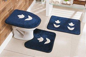 Jogo de Banheiro Bordado 3 Peças Antiderrapante Tulipa Azul Marinho