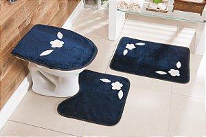 Jogo de Banheiro Bordado 3 Peças Antiderrapante Margarida Azul Marinho