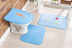 Jogo de Banheiro Bordado 3 Peças Antiderrapante Fundo Mar Turquesa