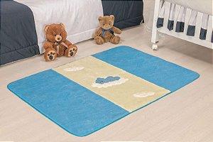 Tapete Passadeira Antiderrapante Urso Baby Azul Turquesa