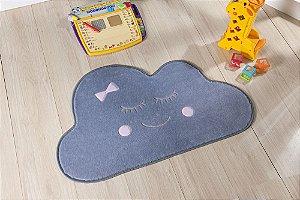 Tapete Formato Baby Antiderrapante Nuvem Cinza e Rosa
