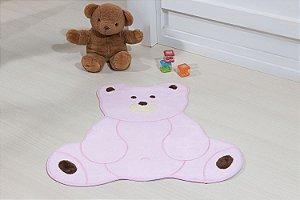 Tapete Formato Baby Antiderrapante Urso Fofo Rosa