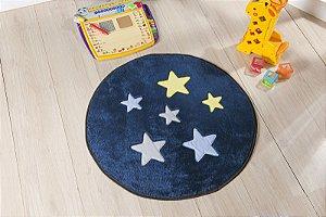 Tapete Formato Baby Antiderrapante Estrela Azul Marinho
