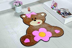 Tapete Formato Baby Antiderrapante Urso Baby Rosa