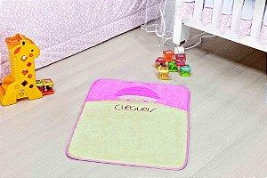Tapete Formato Baby Antiderrapante Bebê Cheguei Rosa