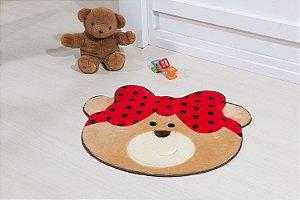 Tapete Formato Baby Antiderrapante Ursinha Laço Vermelho