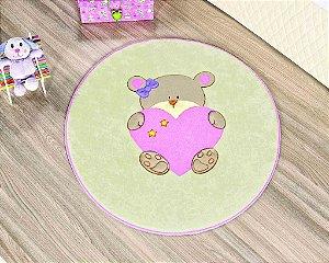 Tapete Formato Baby Antiderrapante Ursinha Bebê Rosa
