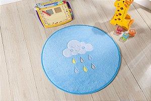 Tapete Formato Baby Antiderrapante Chuva de Benção Azul Turquesa