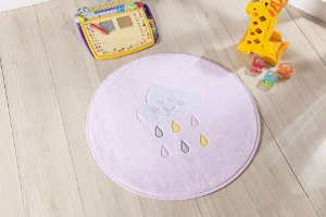 Tapete Formato Baby Antiderrapante Chuva de Benção Rosa