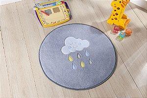 Tapete Formato Baby Antiderrapante Chuva de Benção Cinza e Azul