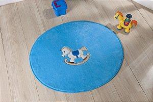 Tapete Formato Baby Antiderrapante Cavalinho Azul Turquesa