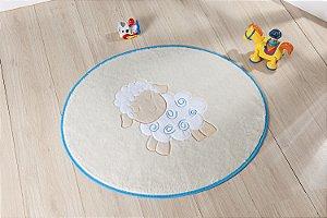 Tapete Formato Baby Antiderrapante Ovelinha Azul Turquesa