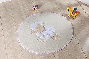 Tapete Formato Baby Antiderrapante Ovelinha Rosa