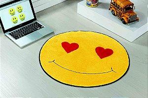 Tapete Formato Feltro Antiderrapante Emoji Apaixonado Coração