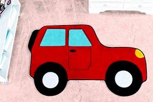 Tapete Formato Feltro Antiderrapante Carro Aventura Vermelho