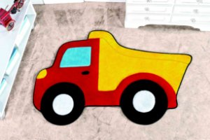 Tapete Formato Feltro Antiderrapante Caminhão Caçamba Vermelho