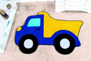 Tapete Formato Feltro Antiderrapante Caminhão Caçamba Azul Royal