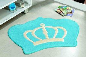 Tapete Formato Feltro Antiderrapante Coroa Azul Turquesa