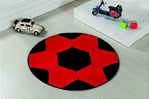 Tapete Formato Feltro Antiderrapante Bola Futebol Vermelha Preta