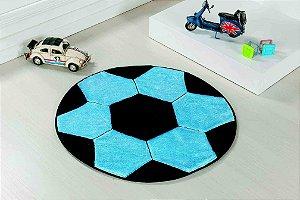 Tapete Formato Feltro Antiderrapante Bola Futebol Turquesa Preta