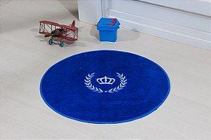 Tapete Formato Feltro Antiderrapante Coroa Ramo Azul Royal
