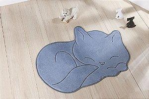 Tapete Formato Feltro Antiderrapante Gato Soneca Cinza