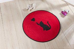 Tapete Formato Feltro Antiderrapante Gato Love Vermelho