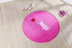 Tapete Formato Feltro Antiderrapante Gato Love Pink