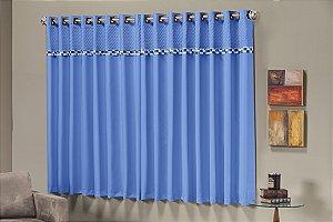 Cortina Thierry Quarto Porta Balcão 2,00m X 2,30m. Azul