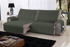 Xále Protetor Sofá Retrátil Reclinável Assento 1,60m Militar e Bege