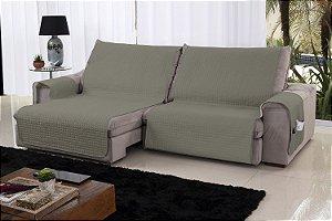 Xále Protetor Sofá Retrátil Reclinável Assento 2,20m Bege e Fend