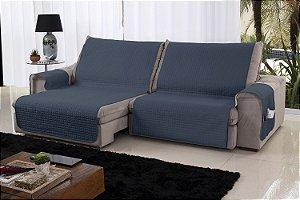 Xále Protetor Sofá Retrátil Reclinável Assento 2,20m Azul e Bege