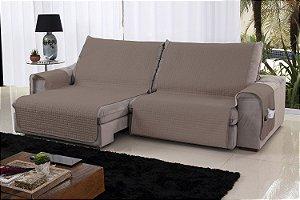 Xále Protetor Sofá Retrátil Reclinável Assento 2,20m Capuccino e Palha
