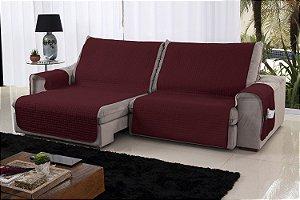 Xále Protetor Sofá Retrátil Reclinável Assento 2,20m Cabernet e Palha