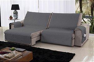 Xále Protetor Sofá Retrátil Reclinável Assento 2,20m Cinza e Preto