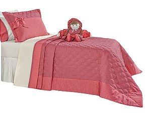 Cobre Leito Bambina Solteiro 3 Peças Boneca Coral Rosado