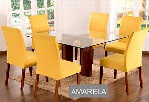 Kit Capa De Cadeira Lisa 6 Peças Amarela