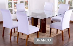 Kit Capa De Cadeira Lisa 6 Peças Branco