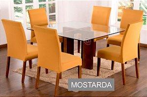 Kit Capa De Cadeira Lisa 6 Peças Mostarda