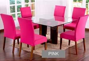 Kit Capa De Cadeira Lisa 6 Peças Pink
