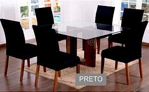 Kit Capa De Cadeira Lisa 6 Peças Preto