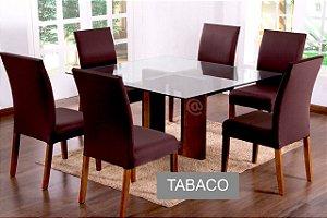 Kit Capa De Cadeira Lisa 6 Peças Tabaco