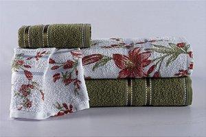 Jogo de Toalha de Banho 4 peças Noblesse Cactus Blossom Vermelha