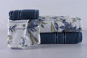 Jogo de Toalha de Banho 4 peças Noblesse Indigo Blossom Azul