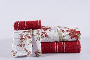 Jogo de Toalha de Banho 4 peças Noblesse Vermelho Blossom