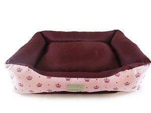Cama Pet para Cachorro e Gato Dupla face Coroa Rosa Tamanho G